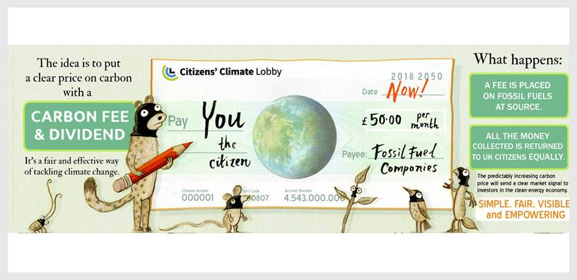 Carbon fee and dividend illustration by Mini Grey